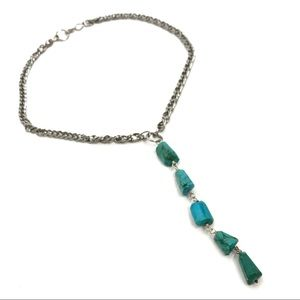 Turquoise Drop Necklace Silver Chain Collar Choker